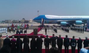 The whole scene at the airport as Obama arrives. Photo from Camilla Schick, Jerusalem Post