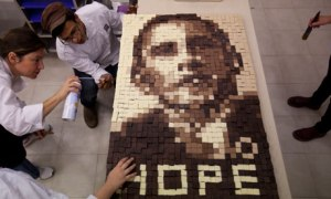Students in Israel make an image of President Obama from chocolate. Photo from Ariel Schalit/AP