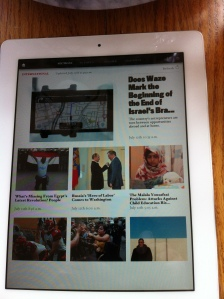 View from iPad of Atlantic's global section, 7/13/13. My article's at the top!